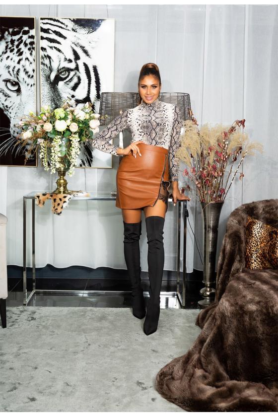 Raudonos spalvos megzta suknelė BI-COLOUR_242375