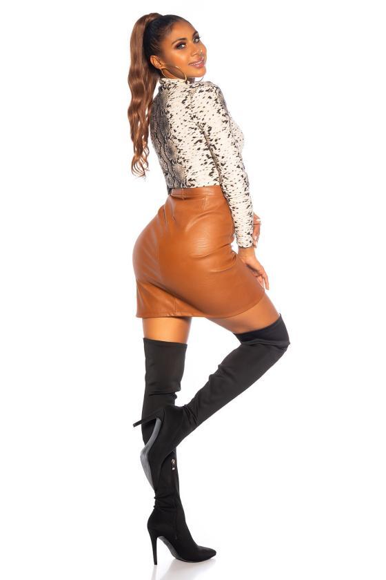 Raudonos spalvos megzta suknelė BI-COLOUR