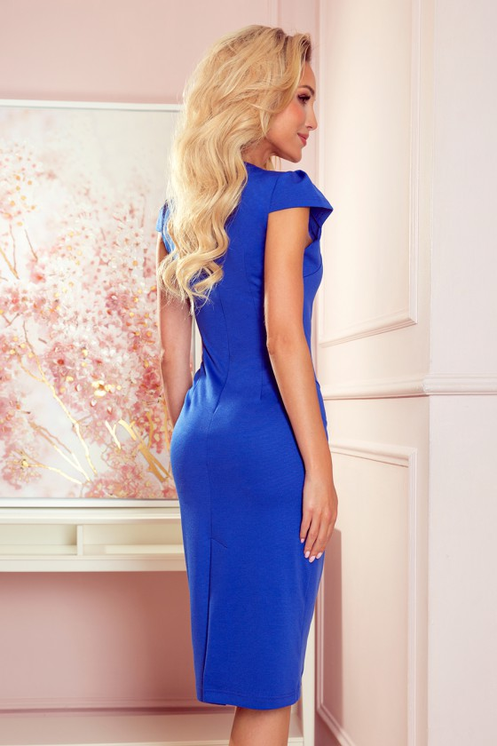 Mėlynos elegantiška midi suknelė su dailia iškirpte_242435