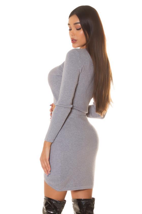 Mėlynos elegantiška midi suknelė su dailia iškirpte