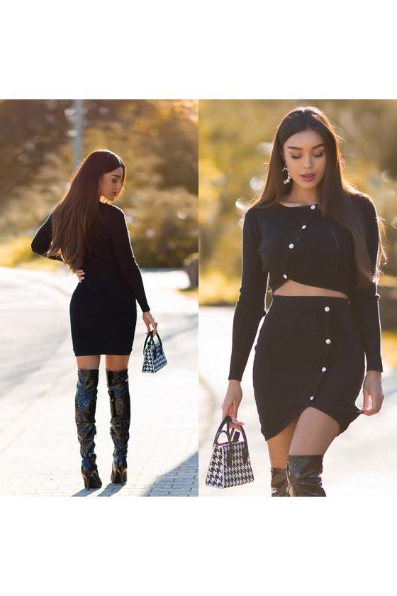 Odos imitacijos juodos spalvos mini sijonas_242514