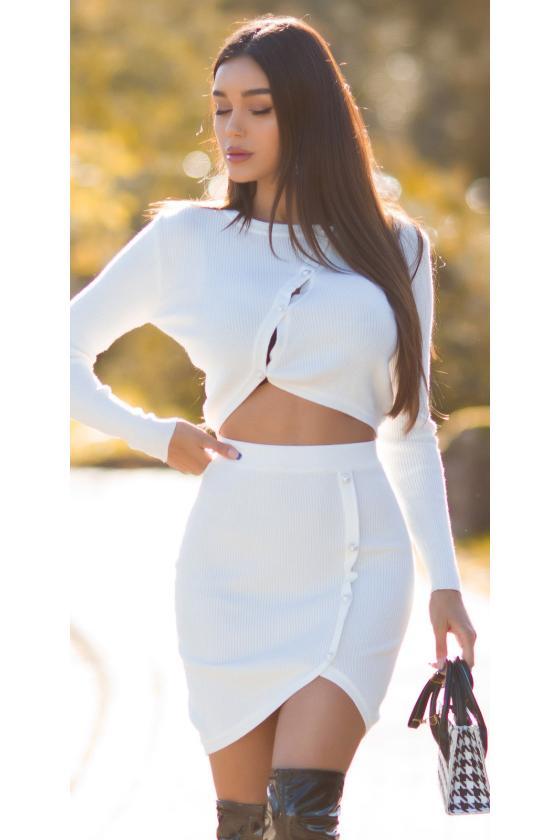 Odos imitacijos juodos spalvos mini sijonas