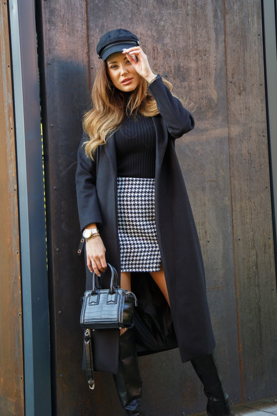 Juodos spalvos ilgas klasikinis paltas_242588