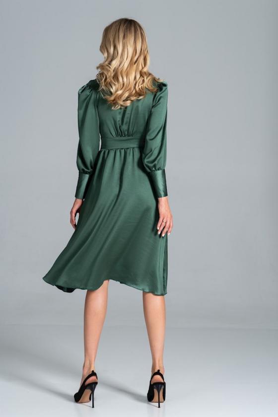 Seksuali raudona suknelė su gipiūro rankovėmis_57375