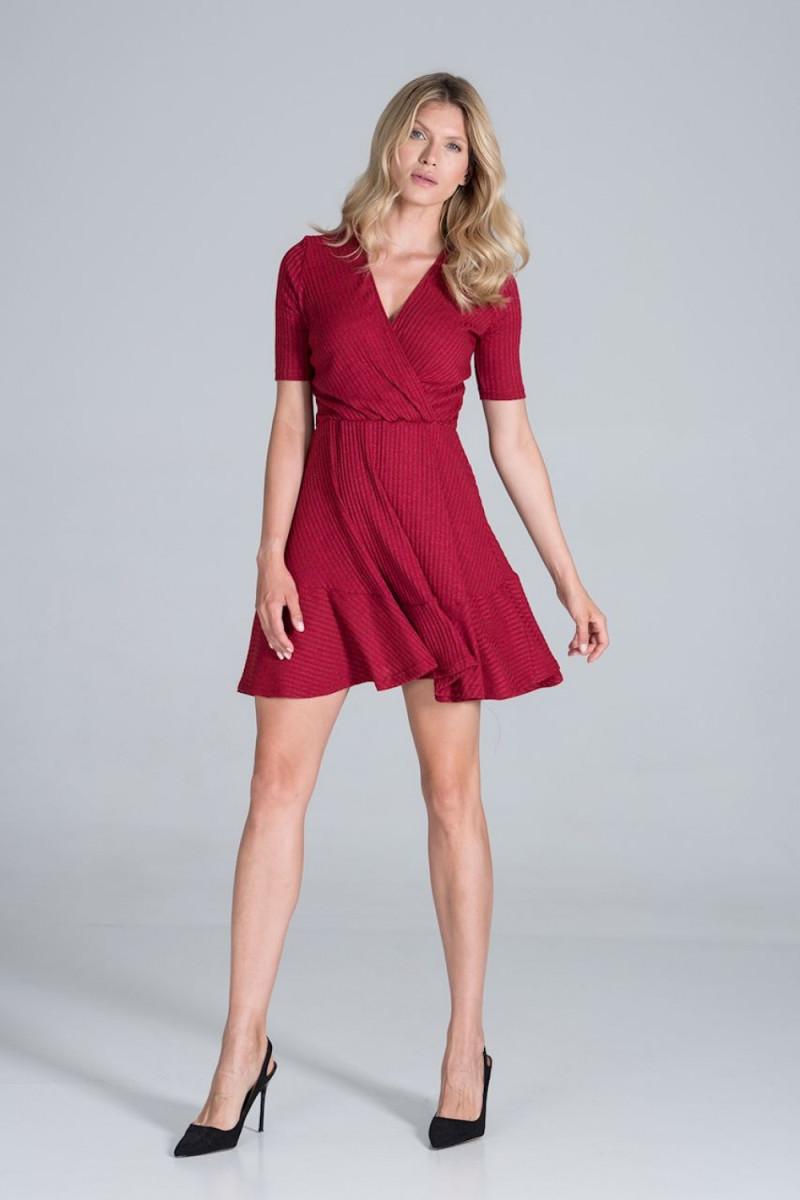 Seksuali raudona suknelė su gipiūro rankovėmis_57377