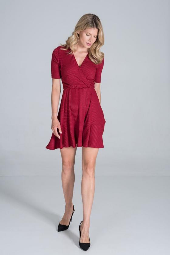 Seksuali raudona suknelė su gipiūro rankovėmis_57378