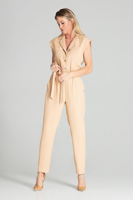 Asimetriška kapučino spalvos mini suknelė