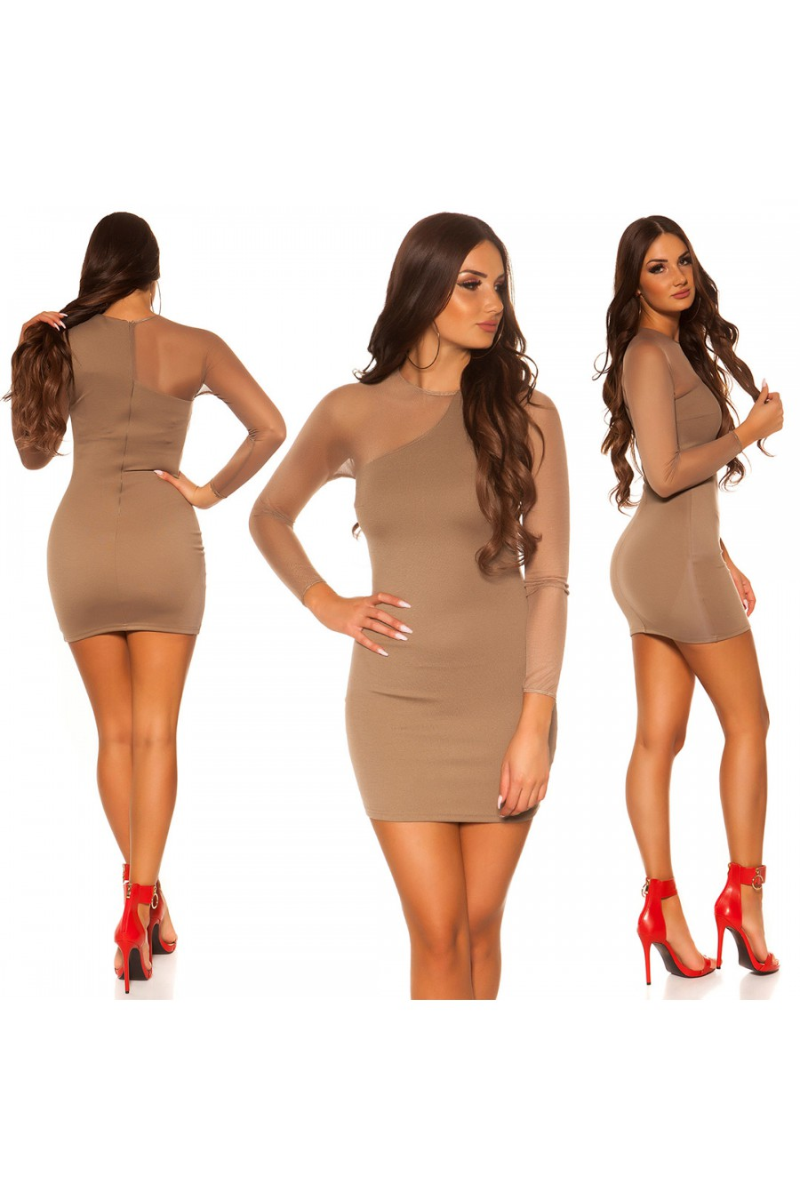 Asimetriška kapučino spalvos mini suknelė_57395