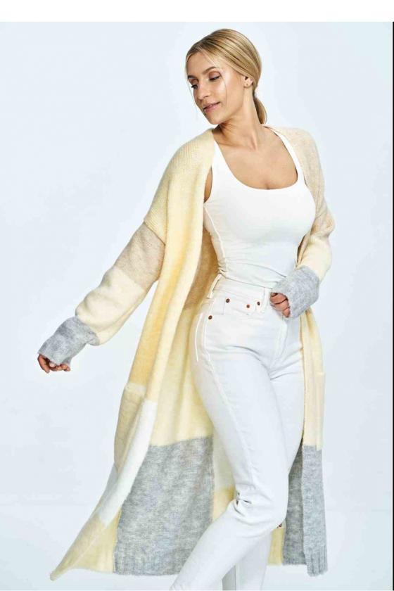 Trumpa smėlinė suknelė surišama ant kaklo_57452