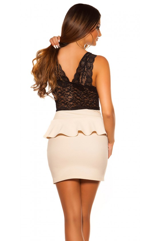 Smėlinė peplum suknelė su nėriniais_57460