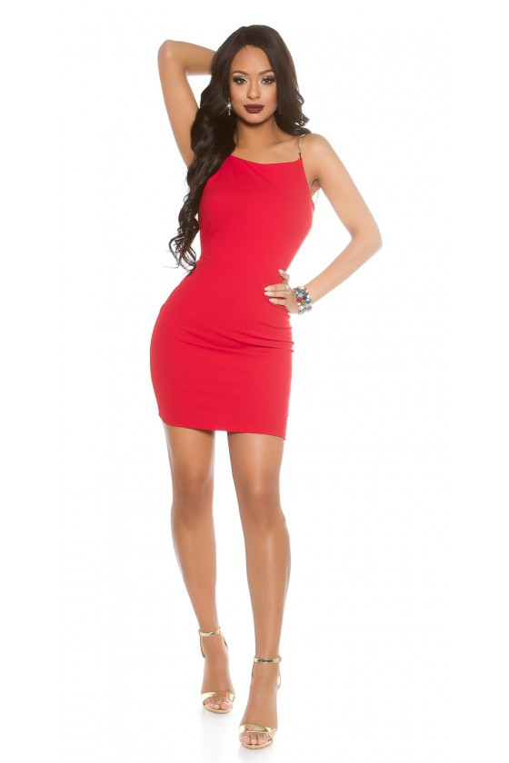 Prabangi raudona suknelė atvira nugara_57507
