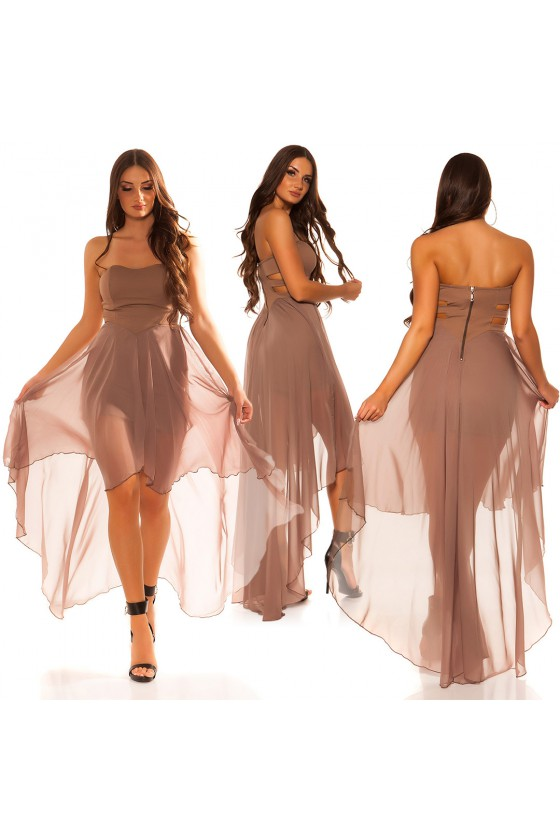 Elegantiška kapučino spalvos suknelė su šleifu_57525