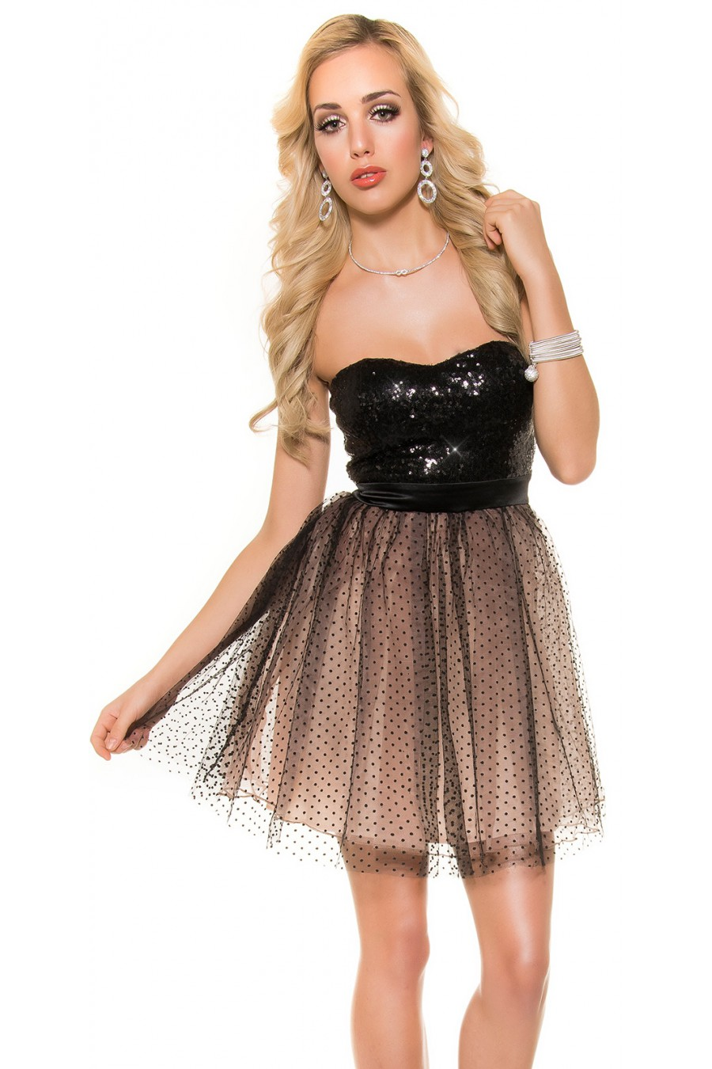 Prabangi suknelė su tiuliu dekoruota žvyneliais