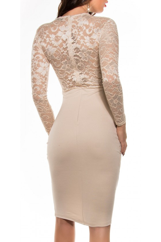 Seksuali smėlio spalvos suknelė su gipiūro detalėmis_57685