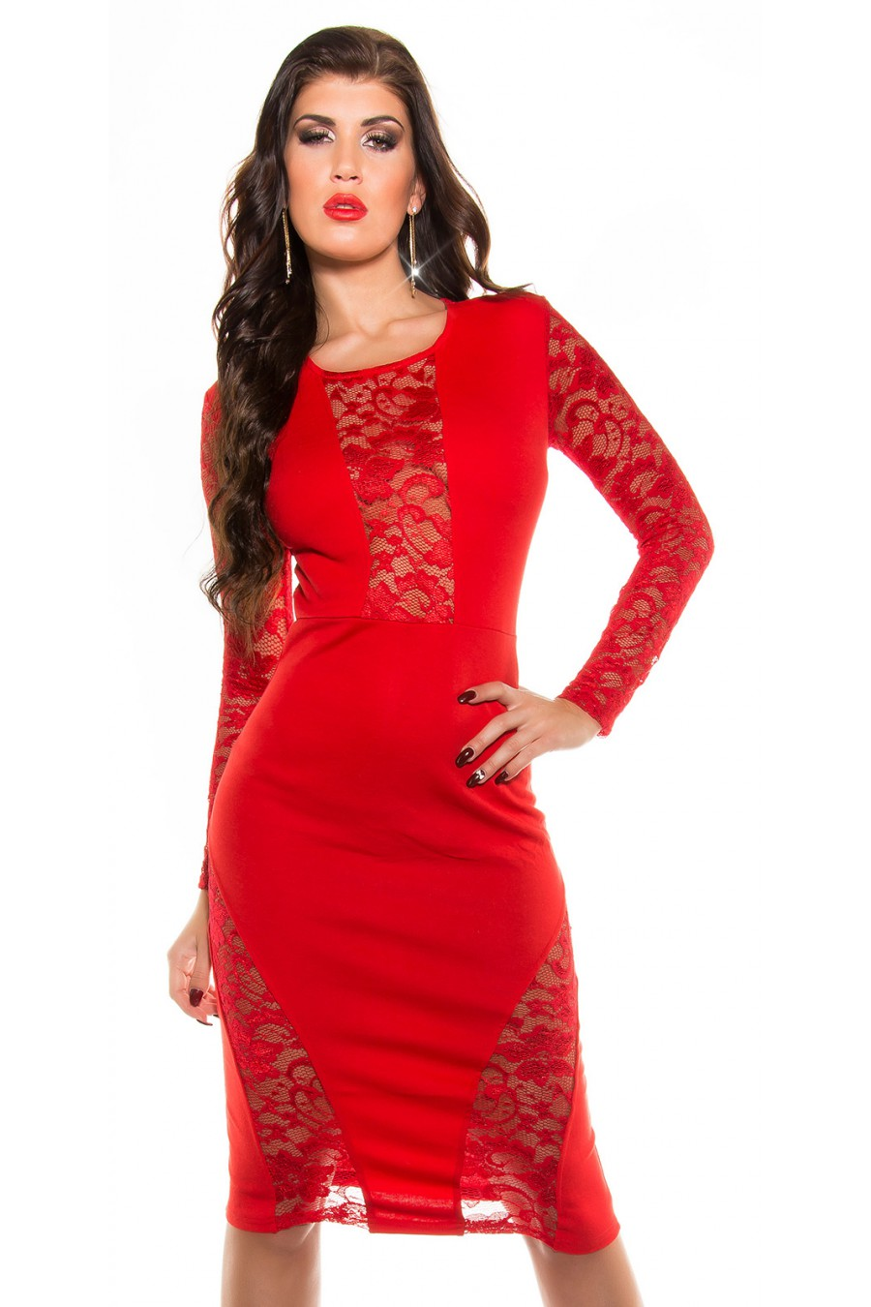Seksuali raudonos spalvos suknelė su gipiūro detalėmis_57702