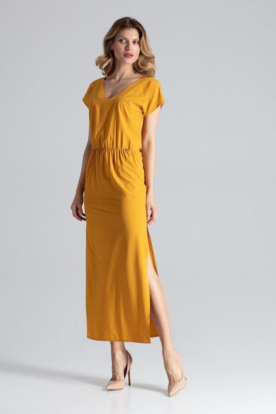 Smėlio spalvos suknelė dekoruota nėriniais_57933
