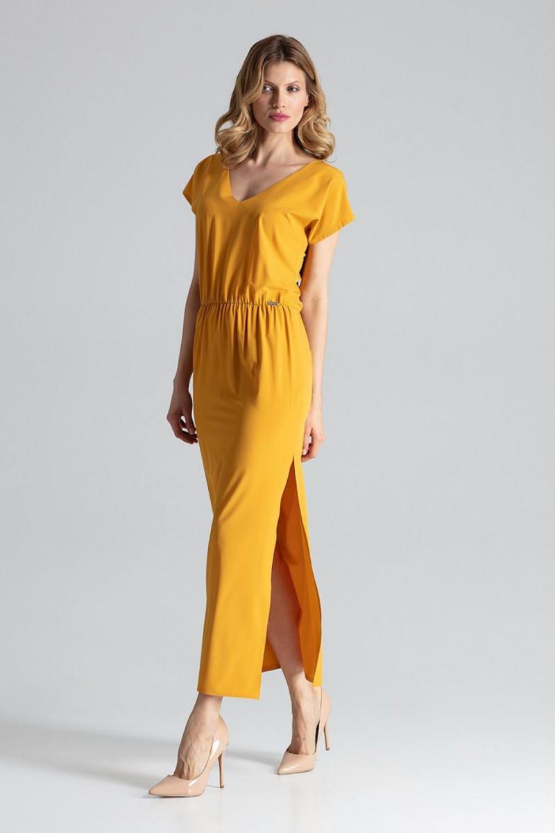 Smėlio spalvos suknelė dekoruota nėriniais