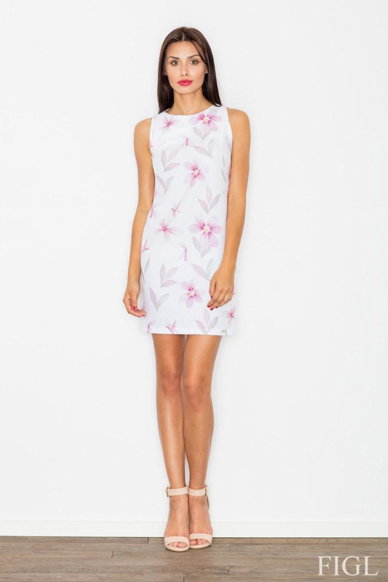 Rausva plisuota suknelė su iškirptomis rankovėmis_58036