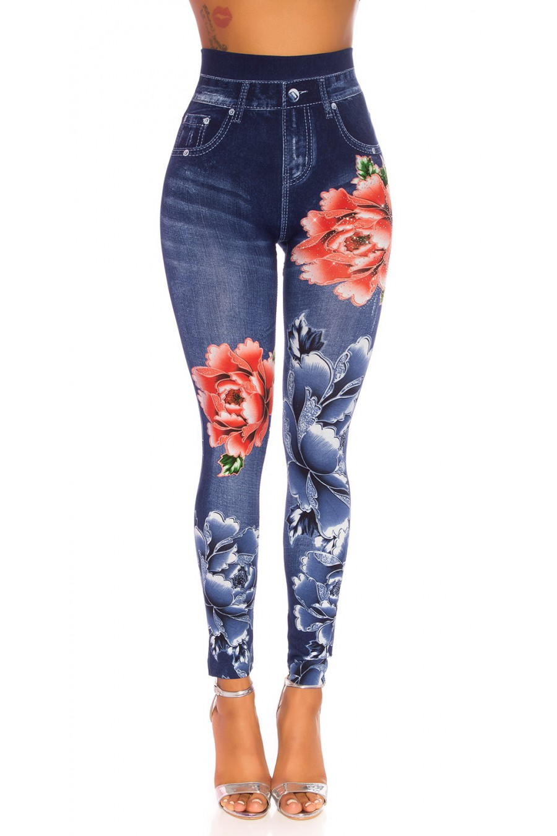 Mėlynos spalvos džinsų imitacijos leginsai su gėlėmis