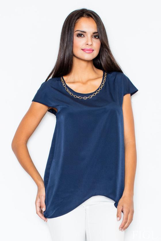 Žydros spalvos šifoniniai marškiniai su šilku_58334