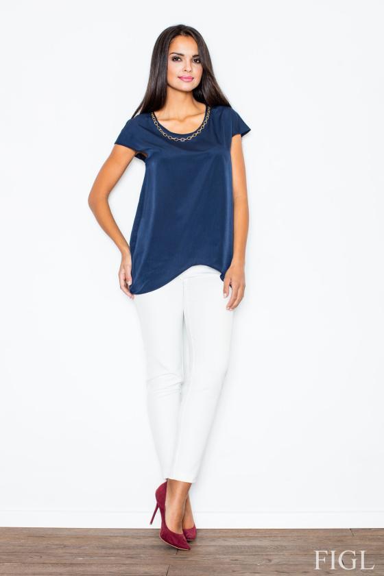 Žydros spalvos šifoniniai marškiniai su šilku_58335