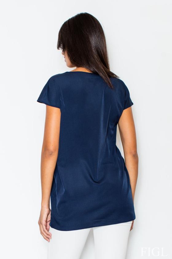 Žydros spalvos šifoniniai marškiniai su šilku