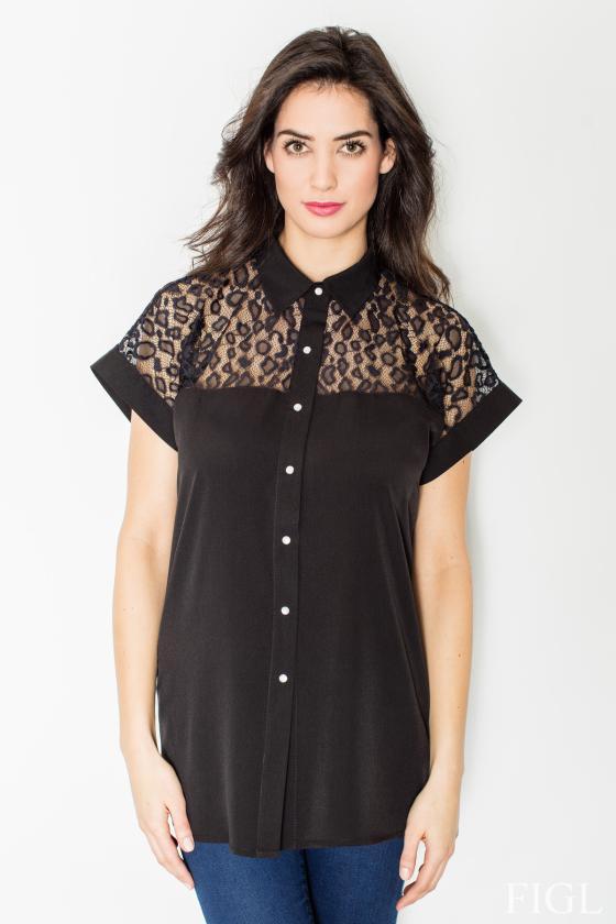 Leopardo rašto šifoniniai marškiniai su šilku_58341