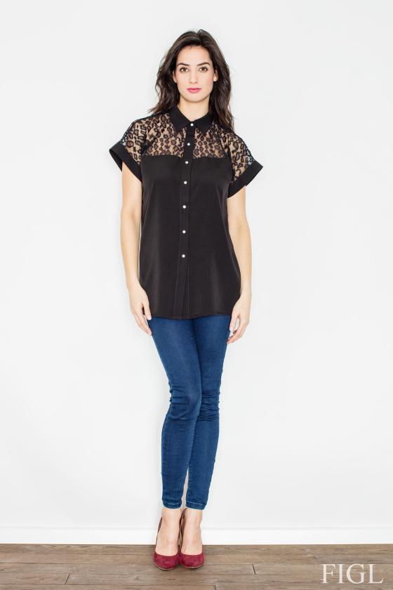 Leopardo rašto šifoniniai marškiniai su šilku_58342