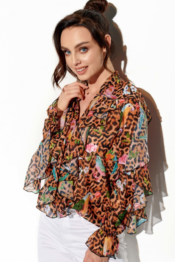 Leopardo rašto šifoniniai marškiniai su šilku