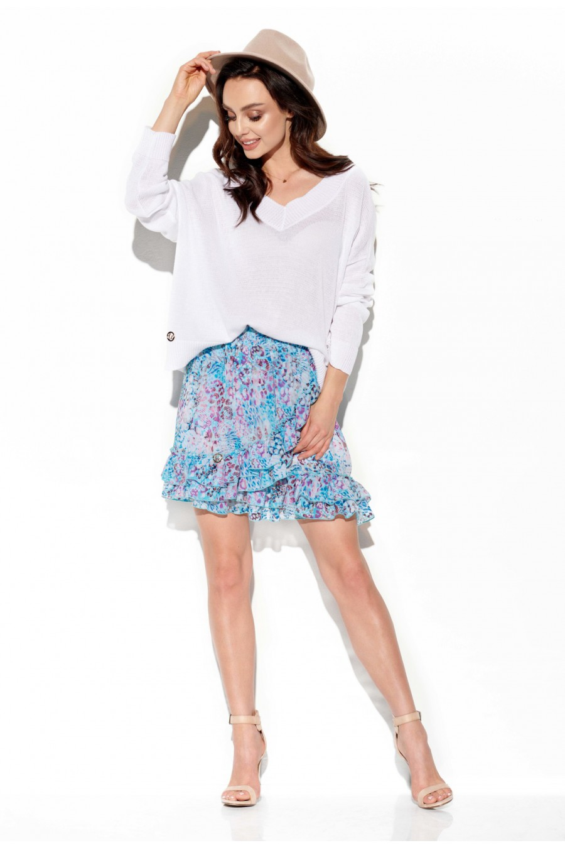 Trumpas mėlynas sijonas su šilku_58388