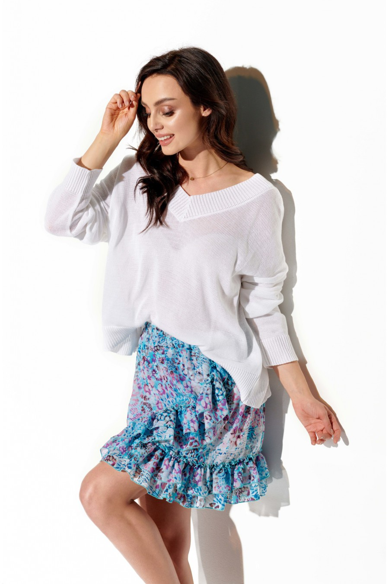 Trumpas mėlynas sijonas su šilku