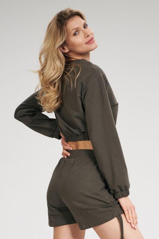 Madingas juodas odos imitacijos sijonas su dirželiu_58436