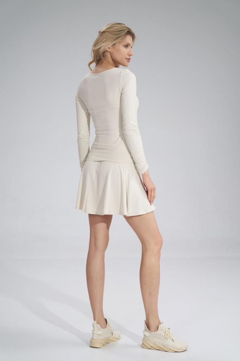 Madingas baltas odos imitacijos sijonas su dirželiu