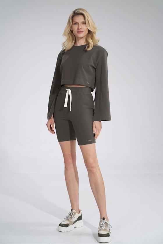 Madingas baltas odos imitacijos sijonas su dirželiu_58458