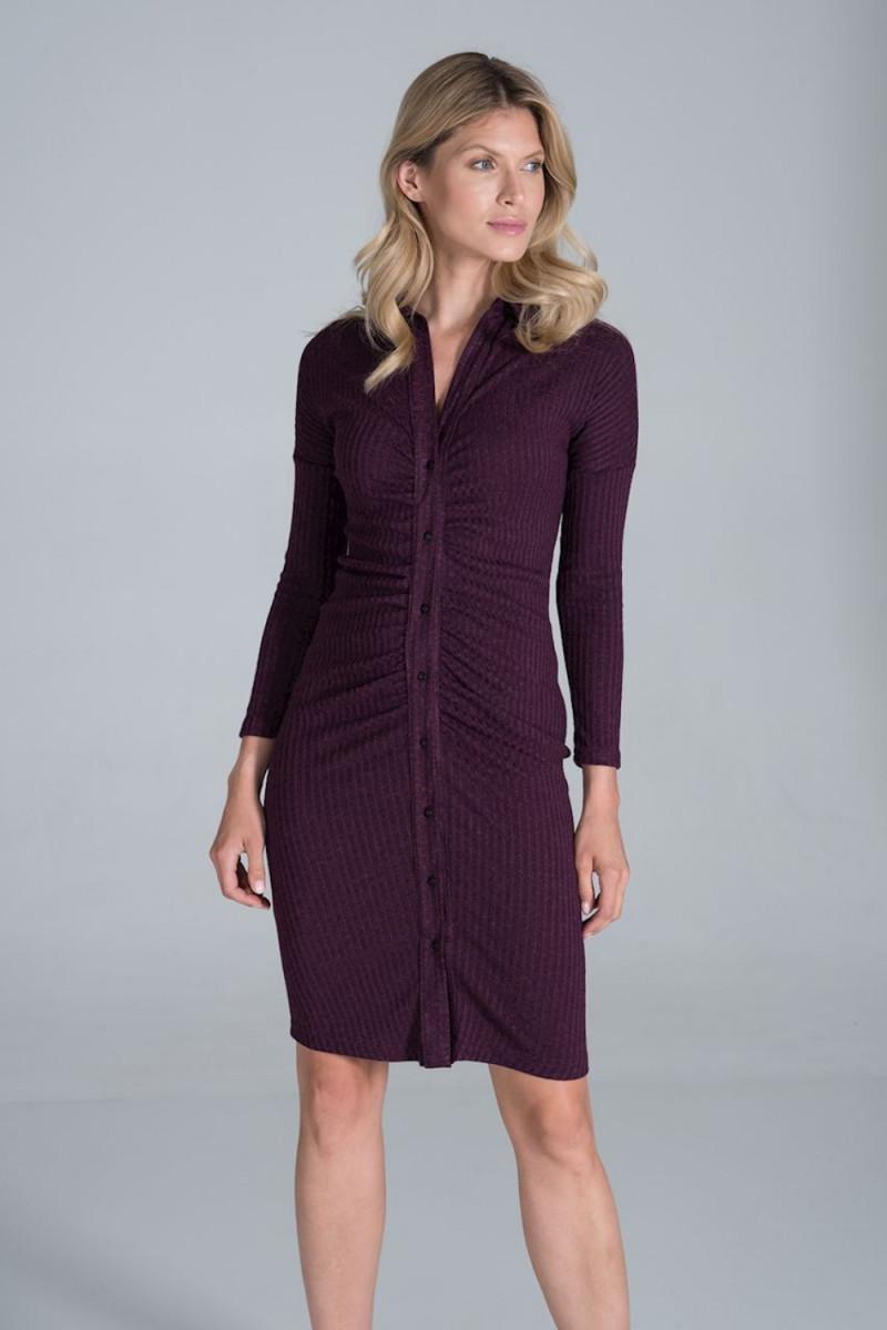 Kapučino spalvos oversize suknelė su gobtuvu_58533