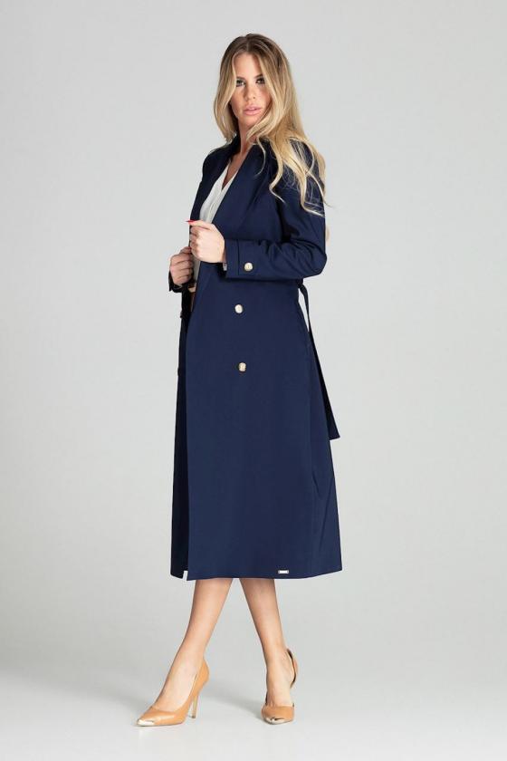 Tamsiai mėlynos spalvos oversize suknelė su gobtuvu_58559