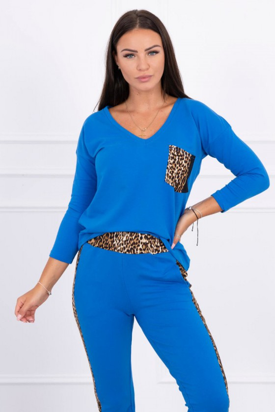 Dailus mėlynos spalvos komplektas su leopardo raštu_58650