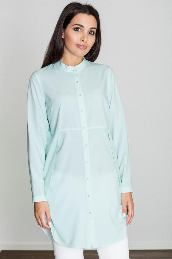 Žydros spalvos suknelė su kapišonu ir kišenėmis