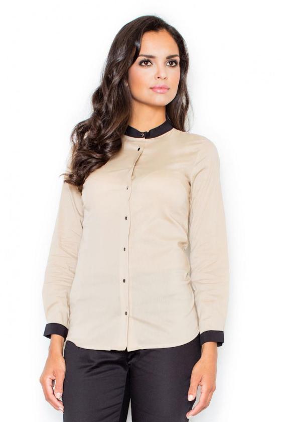Kapučino spalvos suknelė su kapišonu ir kišenėmis_58711