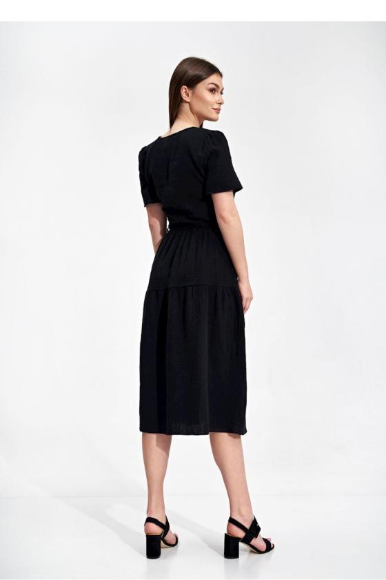 Ilga juoda boho stiliaus suknelė_58884