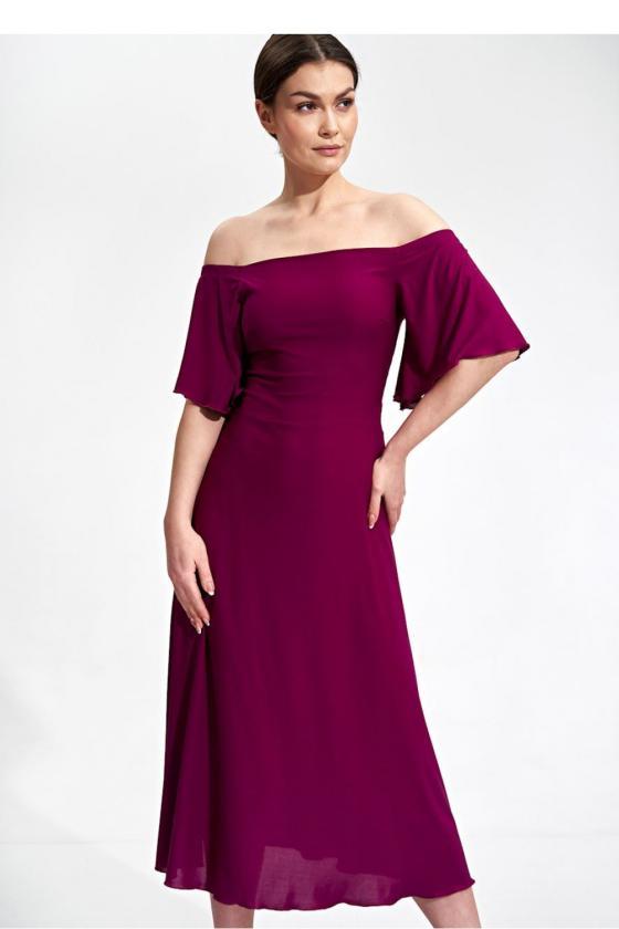 Ilga juoda boho stiliaus suknelė