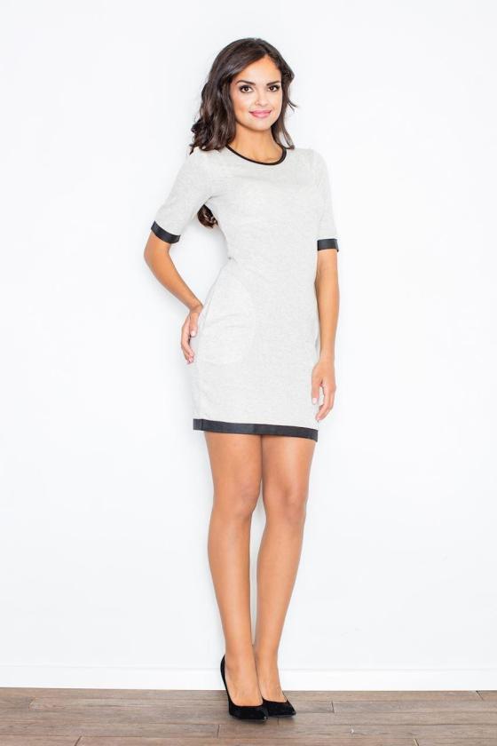 Klasikinė mėlynos spalvos suknelė su dekoratyvia sagtimi_59055