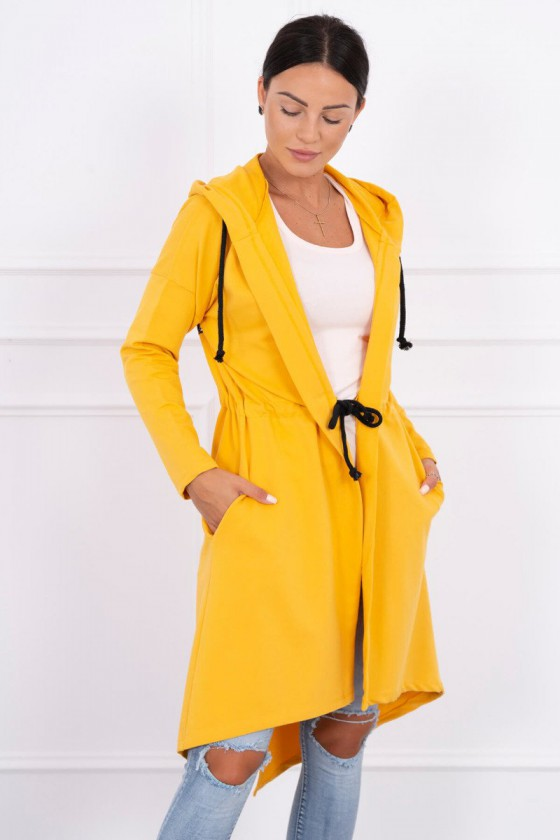 Geltonos spalvos ilgas apsiaustas su gobtuvu_59181