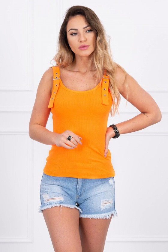 Neoninė orandžinė palaidinė dekoruotas sagtimis