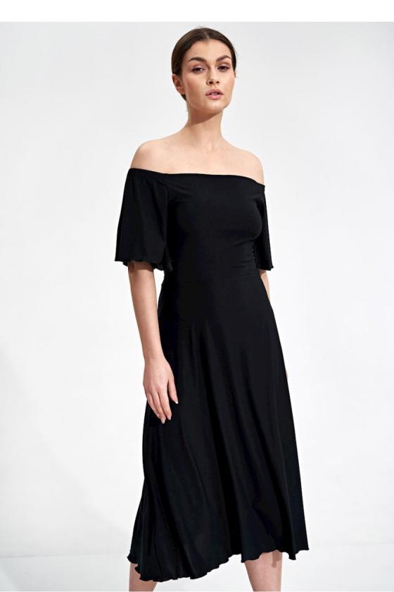 Elegantiška juoda suknelė trumpomis rankovėmis_59268