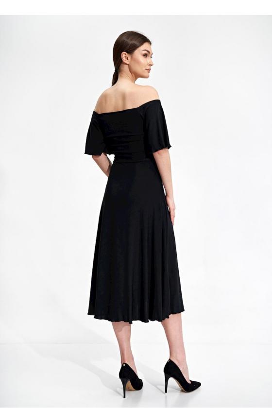 Elegantiška juoda suknelė trumpomis rankovėmis_59270