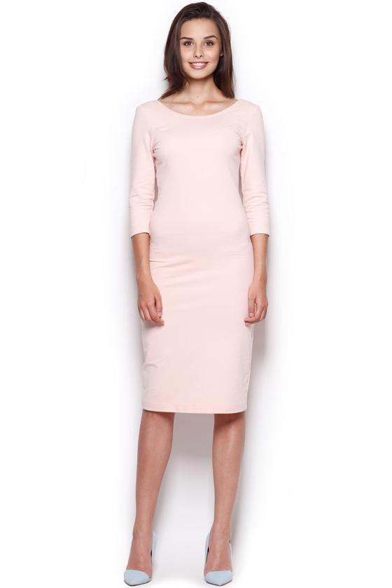 Rausva medvilninė suknelė atvirais pečiais_59392