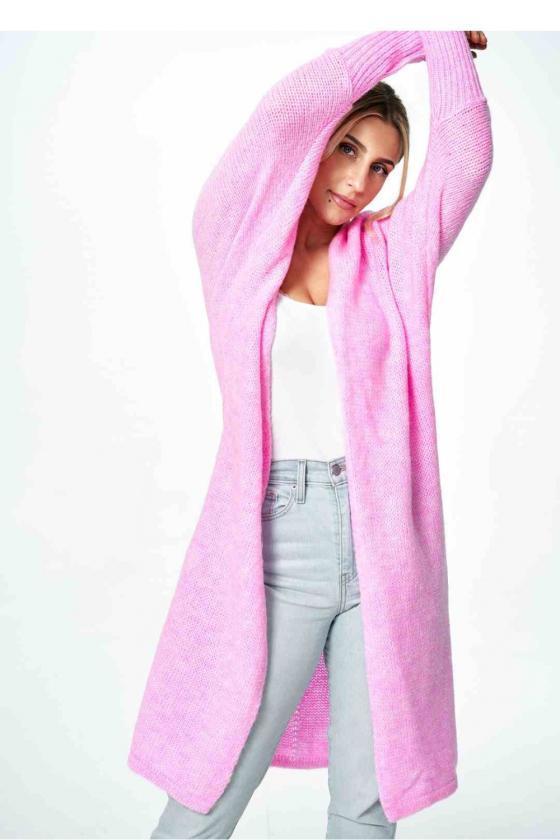 Stilinga rausva suknelė atvirais pečiais