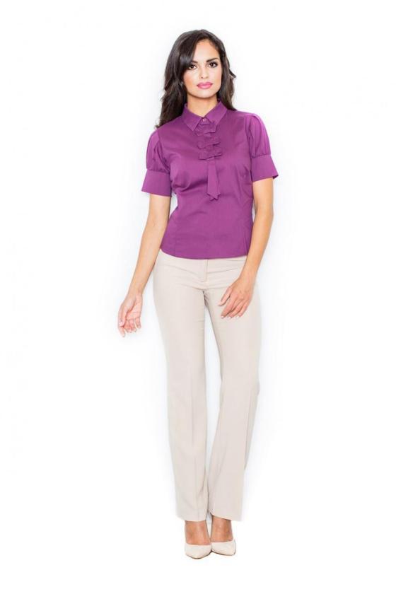 Raudona trapecijos formos suknelė su šifono rankovėmis_59476