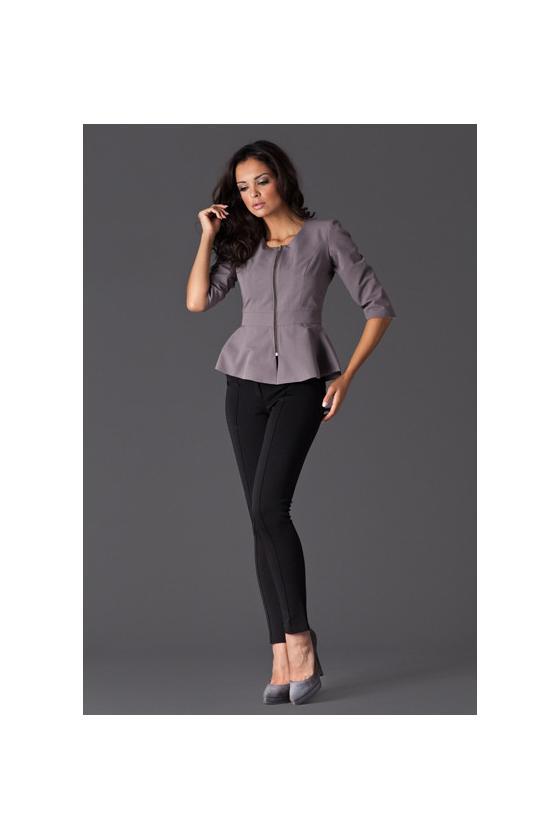 Raudona trapecijos formos suknelė su šifono rankovėmis